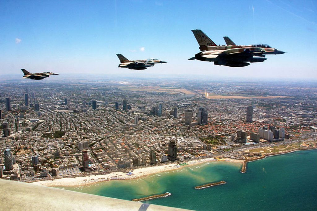 fighter jets in a flypast along the coast for independence day courtesy of the israel defense forces
