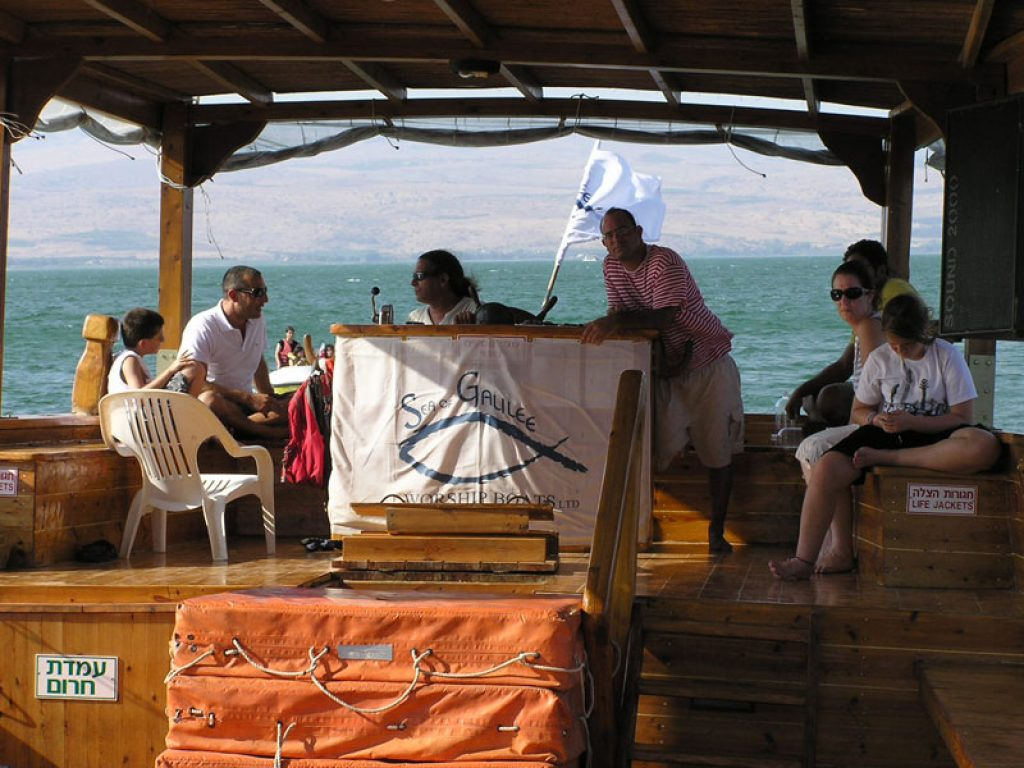 sailing on the Sea of Galilee on a wooden boat