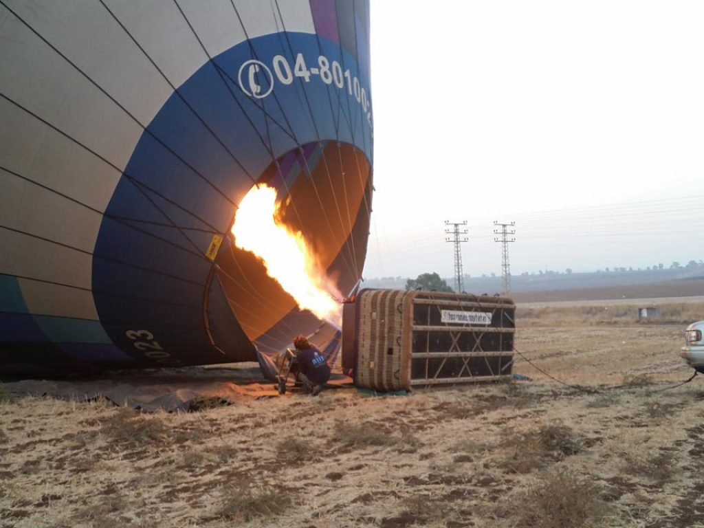 Hot Air Ballooning - balloon filling with air