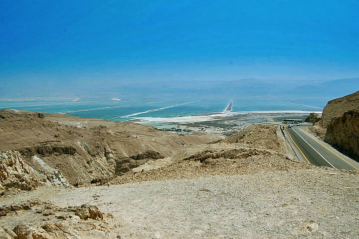 Judean Mountains and Road leading into the Dead Sea Valley