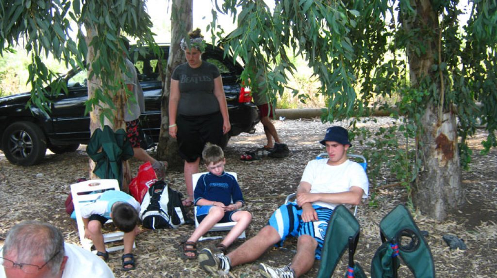 Picnicking in the Eucalyptus grove after the hike