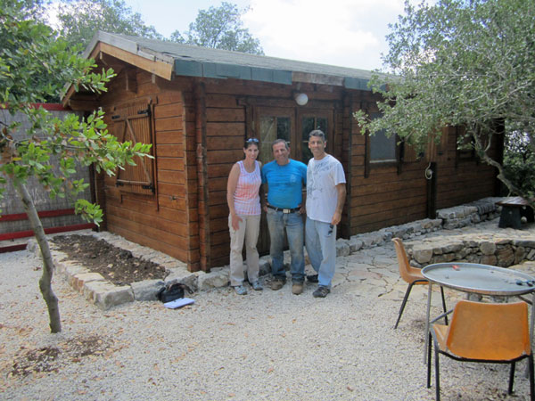 With Eyal in front of a cabin